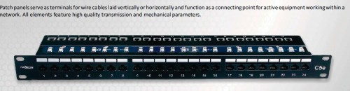 "Patch panels designed in 19"",24xRJ45,UTP"