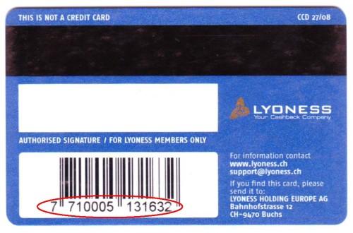 Codul cardului Lyoness