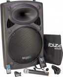 Boxa portabila Ibiza Sound PORT15VHF-BT,38cm,800W cu USB,MP3 si Bluetooth